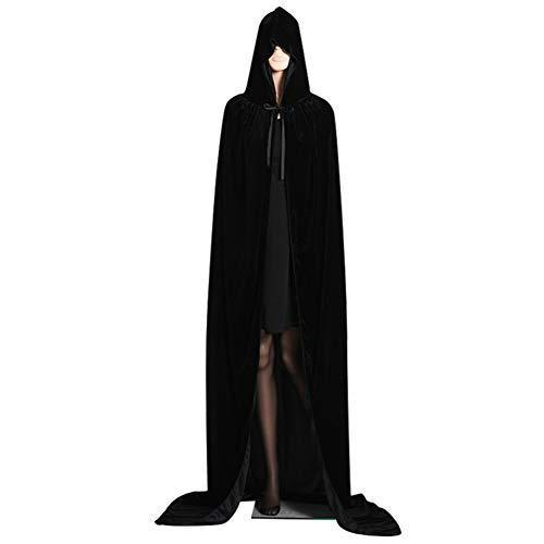 Ruimin - 1 capa de terciopelo unisex con capucha para Halloween, Negro (Black L), 150CM