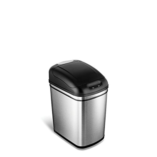 NINESTARS DZT-24-1 Automatic Touchless Infrared Motion Sensor Trash Can, 6 Gal 24L, Stainless Steel Base (Rectangular, Black Lid)