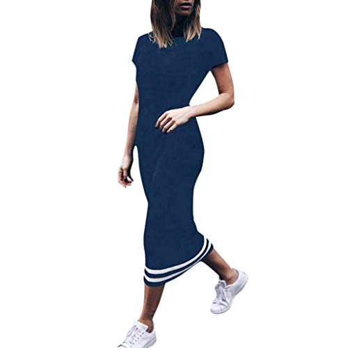 Sttech1 Women's Short Sleeve Pencil Dress O-Neck Striped Mid Calf Party Wedding Guest Dress Navy