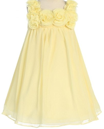 Little Girls Elegant Chiffon Floral Baby Doll Flowers Girls Dresses Yellow (Dress Girl Doll)