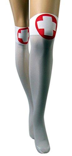White Nurses Thigh High Stockings Costume Accessory