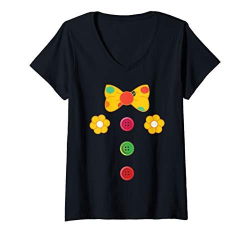 Womens Clown Costume Circus Carnival Birthday V-Neck T-Shirt -