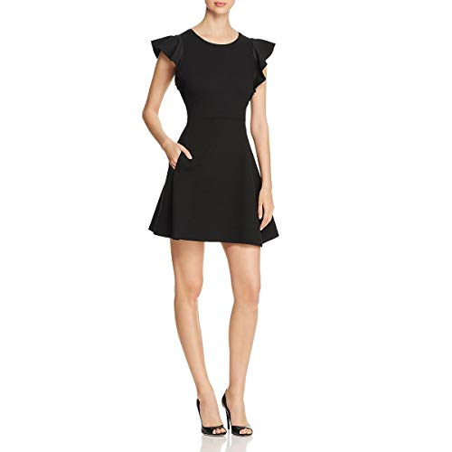 (Kate Spade Womens Ponte-Knit Flutter Sleeve Skater Dress Black M)