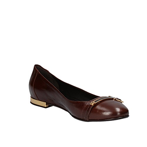 US EU AE762 Leather 6 36 Flats Women's Brown FABI Ballet P0xwqFgxT