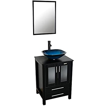 This Item Eclife 24u0027u0027 Modern Bathroom Vanity And Sink Combo Stand Cabinet  And Square Blue Glass Vessel Sink And 1.5 GPM Bathroom Brass Faucet And  Brass Pop ...