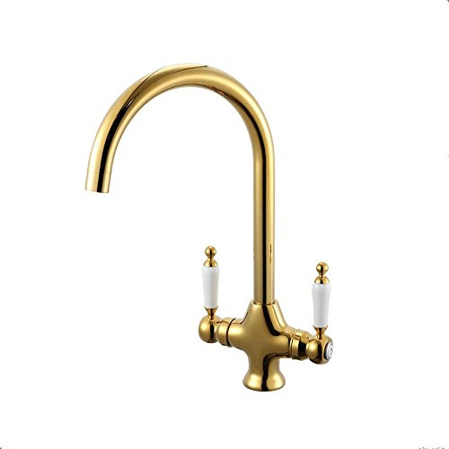 Hlluya Professional Sink Mixer Tap Kitchen Faucet Cold water faucet dual control basin ceramic gold-cold water kitchen sink mixer slot.