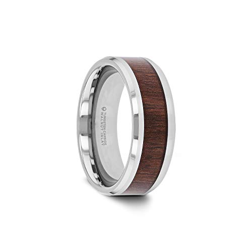 Thorsten Halifax | Tungsten Rings for Men | Tungsten | Comfort Fit | Wedding Ring Band with Smooth Bevels and Black Walnut Wood Inlay - ()