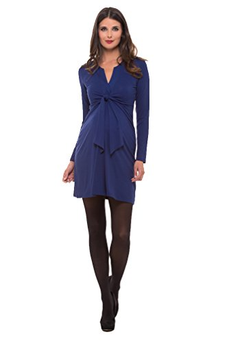 Olian Lucy Long Sleeve Knot Front Maternity Dress - Blue - Large