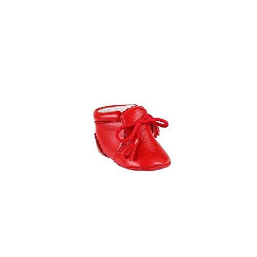 Zapatos de piel para bebé, diseño con cordones decorativas-rojo