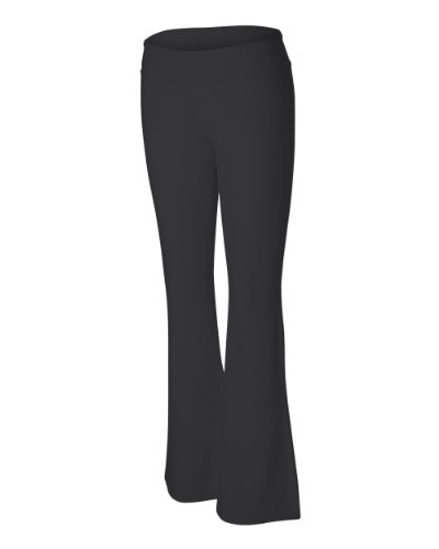 Ladies' Cotton/Spandex Yoga Pant, Color: Black, Size: XX-Large