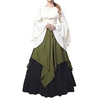 Mangas Largas Vestido Medieval de Mujer, Retro Renacentista Estilo ...