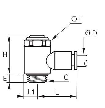 90 Degree Elbow 6 mm Tube OD x 1//8 BSPP Male Parker Legris XFCKCI731-6M-2G Legris 7011 06 10 Nylon Air Flow Control Valve Slotted Screw Meter-In