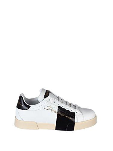 Dolce E Gabbanamensen Cs1558an17289697 Wit / Zwart Lederen Sneakers