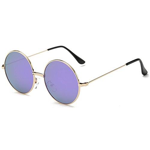 hibote Classic Polaris¨¦ Rond Lunettes de soleil Homme Femme Vintage Retro Eyewear Or Cadre/Purple