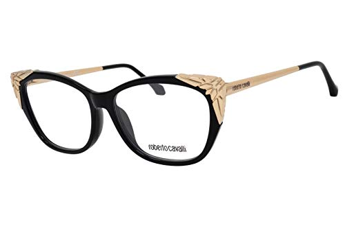 (Roberto Cavalli RC5008 - 001 Eyeglass Frame Black/Gold w/ Clear Demo Lens 55mm)