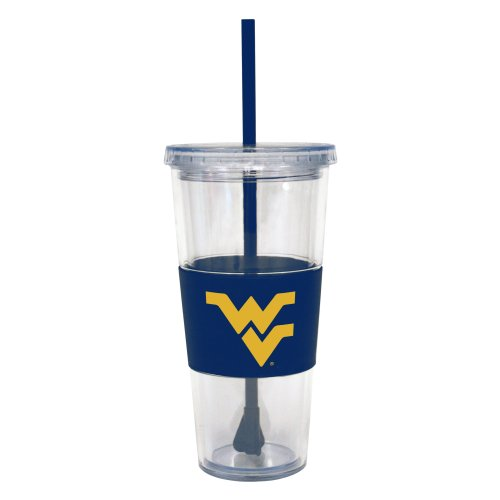 NCAA West Virginia Mountaineers Insulated Tumbler with Rubber Sleeve and Stir Straw, 22-ounce