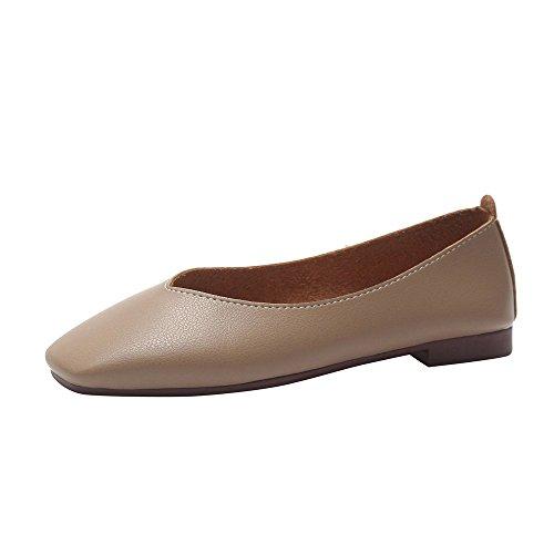 QBQCBB Fashion Women Summer Autumn Skid-Proof Square Toe Flat Casual Sandals Shoes(Khaki,40)