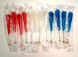 Dryden & Palmer Red, White & Blue Rock Candy Crystal Sticks Great for American Patriots – 12 Individually Wrapped Sticks (4 Of Each Color)