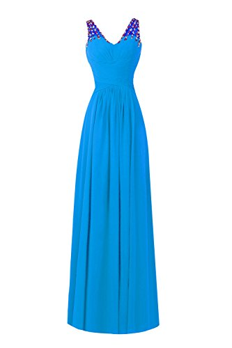 Neck Prom Bridal Blue a Line Formal V Women's Dresses Evening Ocean Long Bess xXR8g6wR