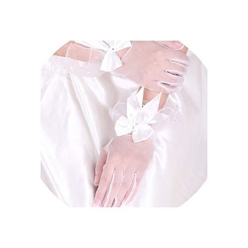 Women Wrist Length Gloves Mesh Semi Sheer Flower Beaded Gloves Wedding,Ivory