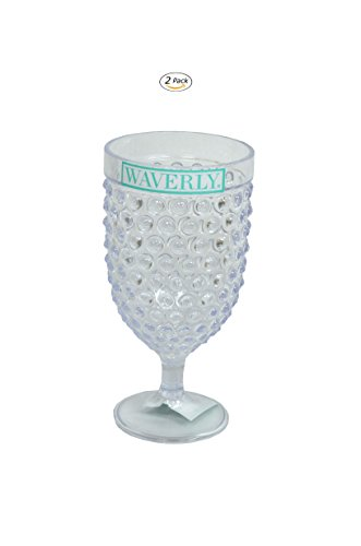 Hobnail Clear Glass - Waverly Hobnail Series Indoor Outdoor Durable Plastic Food and Drink Serving Pieces (Order Only What You Need) (15 Ounce Wine Glass 2-Pack Clear)