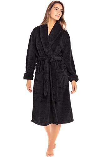Alexander Del Rossa Women's Plush Fleece Robe, Warm Shaggy Bathrobe, 1X 2X Black (A0302BLK2X) 2x Large Polyester Fleece
