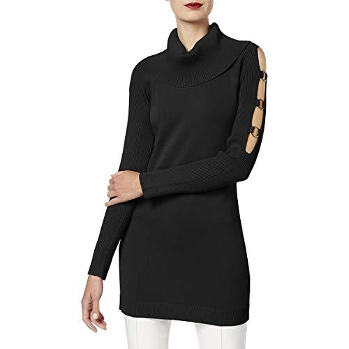 INC International Concepts Women's Grommet-Trim Tunic Sweater (L, Deep Black)