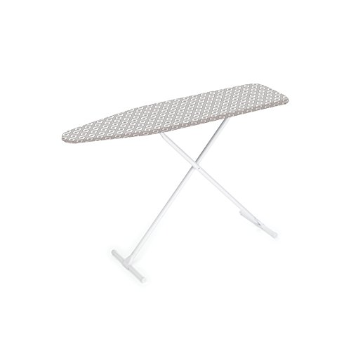 Homz T-Leg Steel Top Ironing Board with Foam Pad, Grey Patte