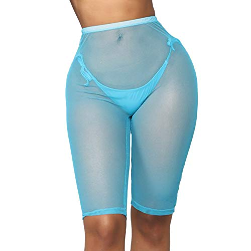 wsevypo Women See Through Sheer Mesh Short Pants Swimsuit Bikini Bottom Beach Cover ups Swim Shorts Party Clubwear Shorts (A-Blue, S)