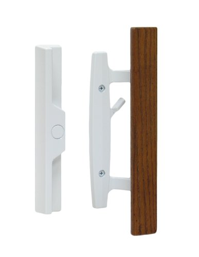 "Lanai Sliding Glass Door Handle Set with Oak Wood Pull in White Finish, Standard 3-15/16"" CTC Screw Holes, 1-1/2"" Door Thickness"