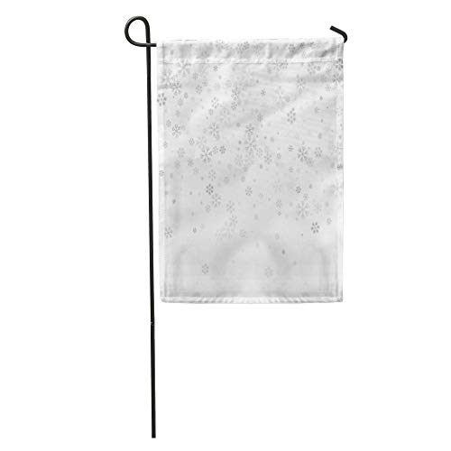 Semtomn Garden Flag Holiday Christmas Random Scatter Falling Silver Snowflakes White Winter Festive Home Yard Decor Barnner Outdoor Stand 12x18 Inches Flag