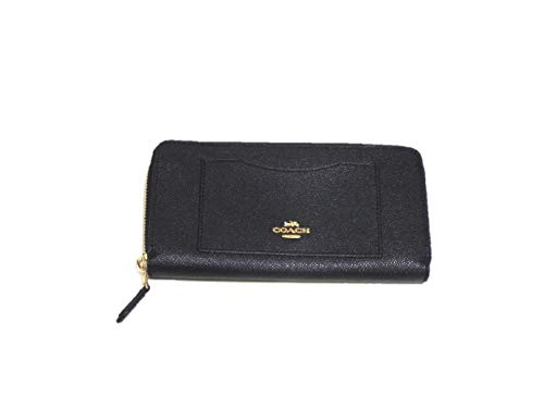 Coach Crossgrain Leather Accordion Zip Wallet F54007 (Black)