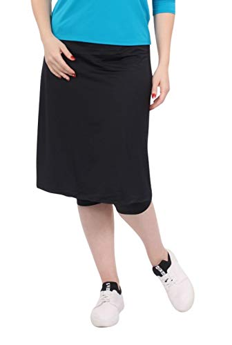 Kosher Casual Women's Modest Knee Length Sports Skirt with Leggings XL Black