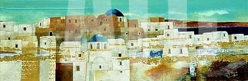 ArtToCanvas 54W x 19H inches : Veduta di Emborio by Fulvio Dot - Paper Print ONLY ()
