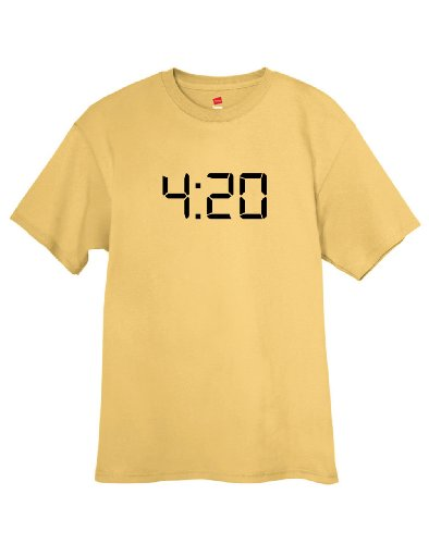 ShirtLoco Men's 420 Digital Clock T-Shirt, Gold Nugget 2XL