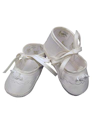 (Little Things Mean A Lot Baby Girls Champagne Silk Dupioni Embroidered Christening Shoes 4 Baby)