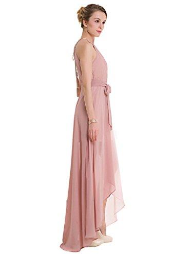 ... GWELL Elegant Damen Chiffon Maxikleid Neckholder Ärmellos Sommer  Frühling Swing Kleider Abend Cocktailkleid Brautjungfernkleid Rosa LTjH23i  ... 055157886d