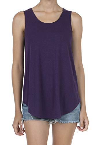 SHOP DORDOR 9052 Women's Soft Jersey Knit Scoop Neck Sleeveless Loose Tank Top Eggplant 2XL