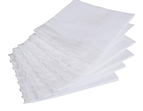 - Cotton White Women Handkerchief With Lace 6Pack, Wedding Party Cotton Hanky, Bridal Wedding Lace Handkerchief, Premium Vintage Handkerchief, Cloth Napkins, Wedding Napkins -12x12 Inch -White