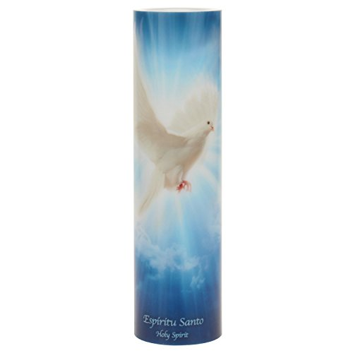 The Saints Collection Holy Spirit Flickering Lifelike LED Prayer Candle with Timer, Religious Home Decor, Gift Ideas for Friends and Family