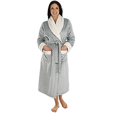 PajamaMania Women's Luxury Heavy Weight Pressed Fleece Robes (Gray, Lrg)