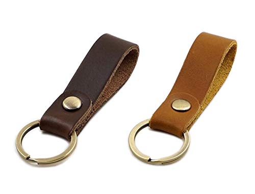 Jzcky Shzrp Leather Valet Key Chain Key Ring,Brown and Dark Brown,2-Pack