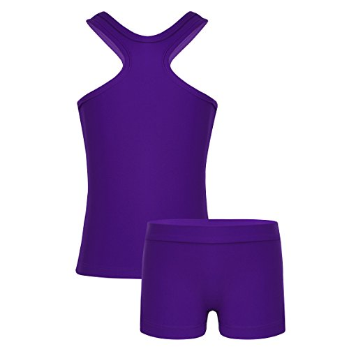 Youth Girls Two Piece - dPois Kids Girls' Sports Workout Dance Gymnastics Two-Pieces Outfit Racer Tank Top with Bottoms Set Purple 6
