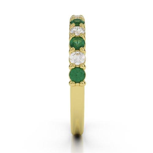 Or jaune 18carats 52CT G-H/VS Certifié Coupe ronde Émeraude et diamants Agdr-1114