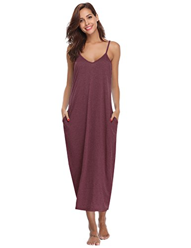 Aibrou Women's Cotton V Neck Long Nightgown Sleeveless Full Slip Night Dress (Wine Red, XX-Large)