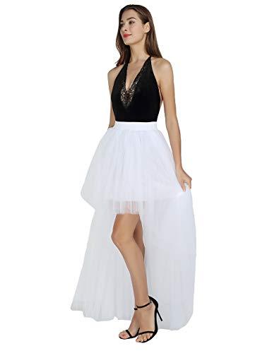Women Dovetail Skirt Sexy Short Front Back Long Fluffy Tulle Skirt for Wedding/Bridal Skirt/Take photoes (White)]()