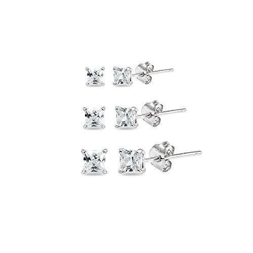 3 Pair Set Sterling Silver Cubic Zirconia Princess-Cut Square Stud Earrings, 3mm 4mm 5mm (Princess Cut Earring Set)