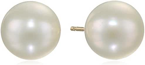 AuraPearl 14k Gold AA Quality White Freshwater Cultured Pearl Stud Earrings
