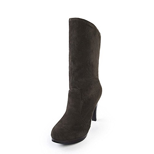 Assorted High Boots On Women's Round AgooLar Pull Brown Colors Toe Heels Frosted 4wZE8qxqT