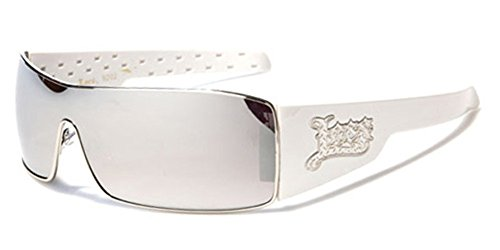 Locs Metal Rim Frame Original Gangsta Shades Men's Hardcore Sunglasses - White with Mirror - Mens Locs